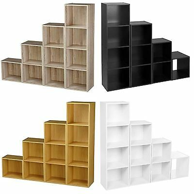 Wooden Cube 2 3 4 Tier Storage Unit Strong Bookcase Shelving Office Display Home