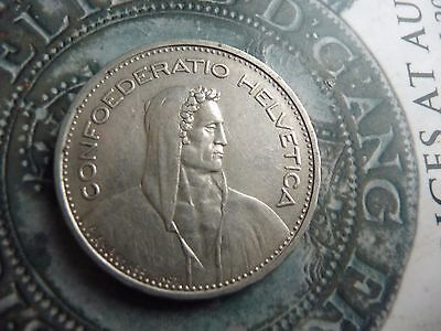 switzerland .835 silver 5 franc coin 1932 high grade