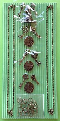 Jewellery Making Kit Bronze Tone Key Charms Craft Findings  - Aussie Seller!!!