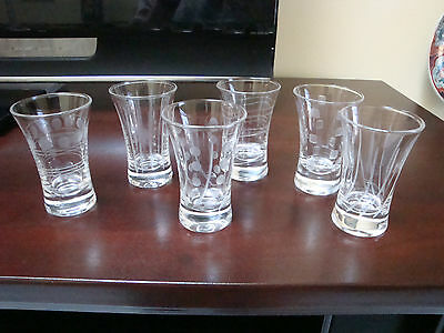 Six Etched Crystal Cordial Glasses Set of Six different patterns