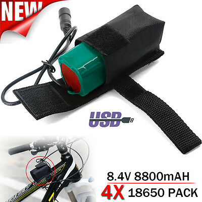 8800mAh 8.4V Rechargeable 4x 18650 Battery Pack For Head lamp Bike Bicycle Light