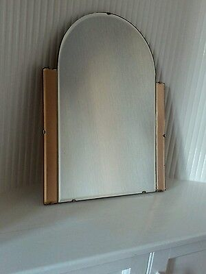 GENUINE VINTAGE LATE ART DECO 1950s MID CENTURY 2 TONE BEVELED WALL ARCH MIRROR