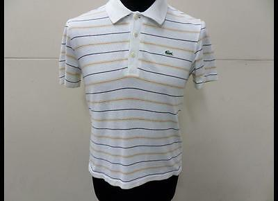 """Kids Lacoste Collared Shirts White Striped Size 34"""" Chest Gc Sku No Lb993"""
