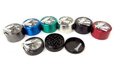 Tobacco 50mm 3 part Herb Grinder Hand Mill Rotary Foldable Handle TobaccoCrusher