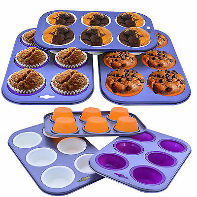 Silicone Muffin 6 Tray Non Stick Cupcake Baking Mould Cup Cake Cases Bakeware