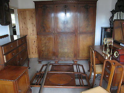Antique Bedroom Suite Wardrobe Dressing table Chest of Drawers Bed Ends Chairs