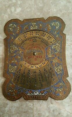 1944-1983 Vintage Old Collectible Brass Hand Carved 40 Year Calendar
