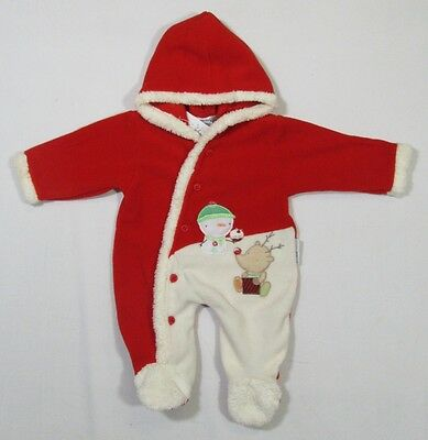 Xmas Babies Baby Outfit Onesie Red White Christmas One Piece Hooded Fluffy Trim