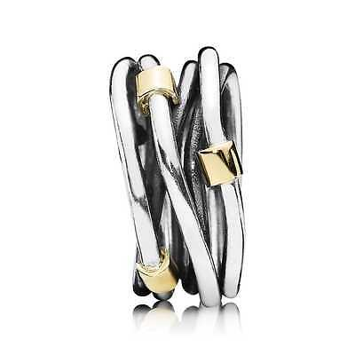Pandora Entwined Ring, Sterling Silver & 14 ct Gold, Authentic, 190383