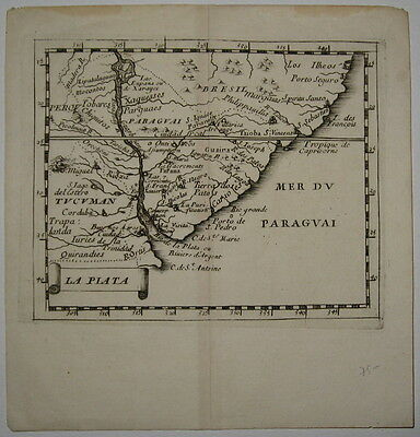 1676 Miniature Duval Map of Southeast South America (Paraguay, Uruguay, Brazil)