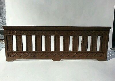 Antique Cast Iron Fireplace Fender Front Guard Curb Grate Black Vintage