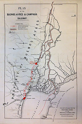 1880 Government Railway Map of Buenos Aires, Argentina - ORIGINAL