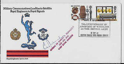 1972 BBC FDC (ROYAL ENGINEERS No4)BF1326PS H/STAMP. SIGNED BY CHIEF R/E CAT £80+