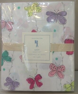 NIP 3P Pottery Barn Kids Colorful LUCY BUTTERFLY Cotton Sheet Set TWIN