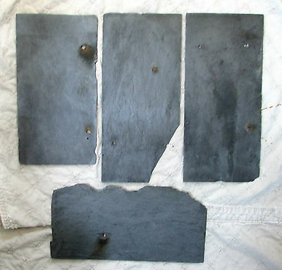 """4 pieces blue slate Antique Roof Slate hand cut 5""""x11"""" from a PA farm home NICE!"""