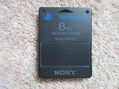 Official 8Mb Black Sony Magic Gate  Playstation 2 Ps2 Memory Card Scph 10020