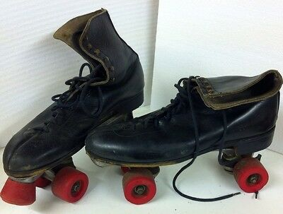 Vintage Retro Leather CHICAGO STYLE Mens Roller Disco Quad Roller Skates 8-9