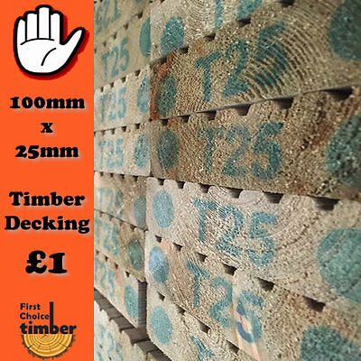 200mtrs timber decking 100mm x25mm Tanalised garden decking only £1.00 a meter