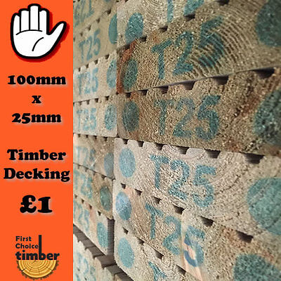 220mtrs timber decking 100mm x25mm Tanalised garden decking only £1.00 a meter