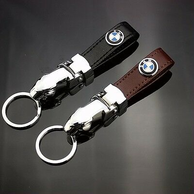 2016 BMW Luxury Black Leather Car Keyring Keychain - Free 1st Class Delivery