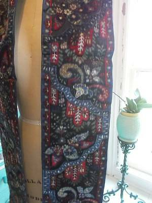"Chic French 7"" Wide Silk Velvet Ribbon Circa 1920 Ornate Paisley Pattern 84"""