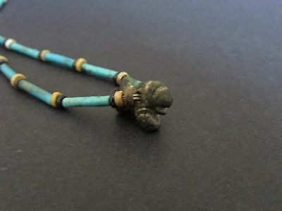 NILE  Ancient Egyptian Bronze Lion Amulet Mummy Bead Necklace ca 600 BC