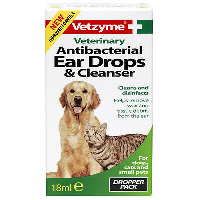 Vetzyme Antibacterial Cat Dog and Puppy Cleansing Ear Drops 18ml