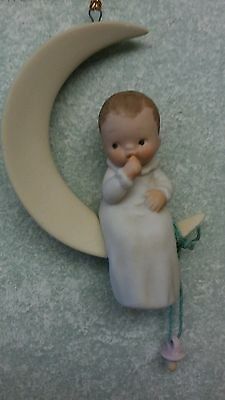 """Memories of Yesterday MOY Ornament """"New Moon"""" Baby on Half Moon Pacifier 52464"""