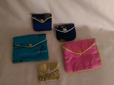 Asian Inspired Cloth Jewelry Bags - Set of 5