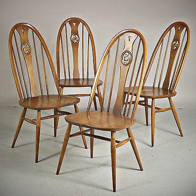 4 Dining Chairs - Ercol, Quaker, Swan (delivery available)