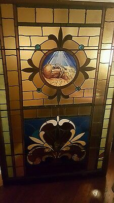 stunning antique large stained glass church hay stack window 1800s