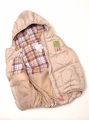 P268/31 Next Girl's Metalic Beige Quilted Warm Gilet Body Warmer, age 2-3, 98 cm