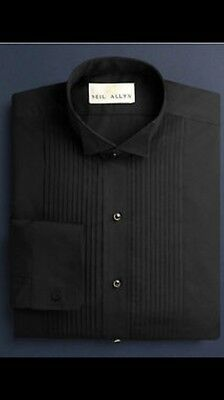 Black Wing Collar Tuxedo Shirt.  Contact Seller with desired Sizes