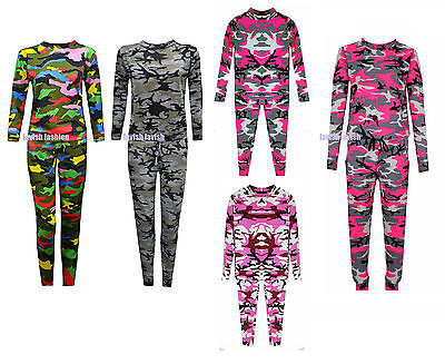 Girls Unisex Camouflage Print Tracksuit Kids  Camo Lounge wear Jogger Suit New