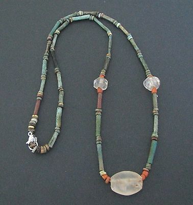 NILE  Ancient Egyptian Crystal Amulet Mummy Bead Necklace ca 1000 BC