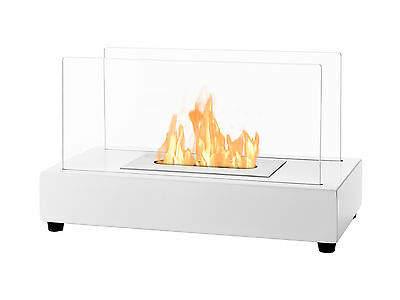 Ignis Ventless Tabletop Ethanol Fireplace - Tower White - Eco Friendly Fireplace