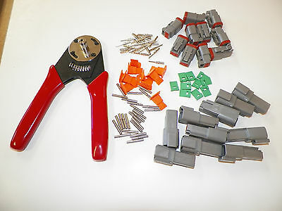 91 Pc Kit With Ten Gray 2X Deutsch Solid Connectors Sets And Crimper 20-12 Awg