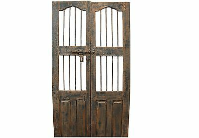 Pair of Reclaimed Antique Architectural Salvage Doors w/ Wrought Iron #3
