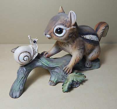 Vintage Masterpiece by Homco Chipmunk and Snail on Log Very Nice!!!!