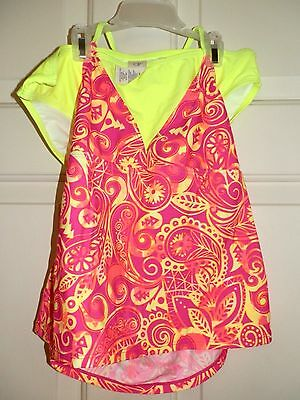 New Girls XL 14-16 Tankini 2 piece Paisley Neon Pink Yellow Bathing Suit Op