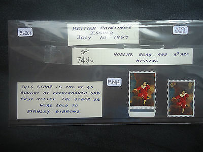 Great Britain 1967 British Paintings (4d & queens head omitted) MNH SG748a RARE