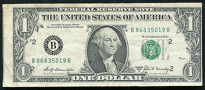 "1969-B $1 One Dollar Frn Federal Reserve Note ""miscut Error"""
