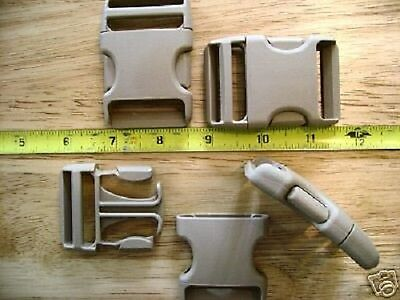 """Pair of New 1 1/2"""" Duraflex Taupe Plastic Buckles/Stealth"""