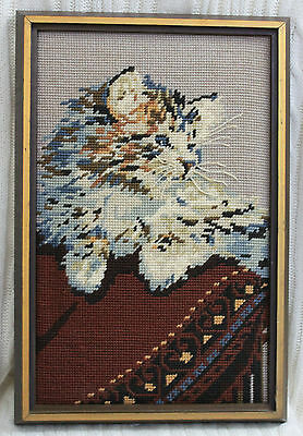 Vintage Embroidered Cat Kitten Picture Finished Needlework Framed Hand Made