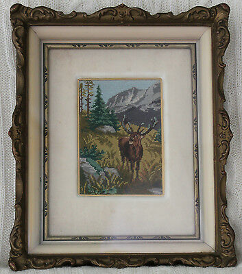 Vintage Antique Ornate Frame Finished Petit Point Deer Buck Forest Nature Animal