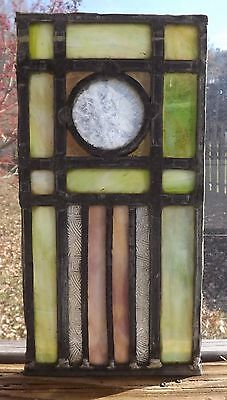 Antique Vintage Leaded Stained Glass Window Panel Arts & Crafts Era Salvage 1900