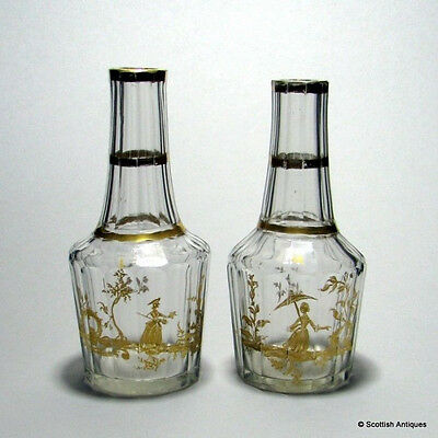 "Pair ""Flacon de Boheme"" Gilded Glass Flasks c1790"