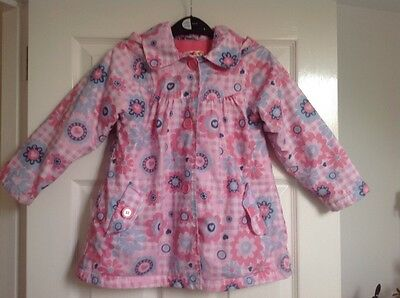 Girls 4-5 m&s Rain Coat Hooded Jacket Floral pink