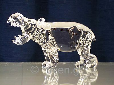 HIPPO Figurine@CRYSTAL Glass BEAST@UNIQUE Collectable Gift@Wild Jungle Animal
