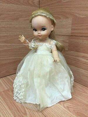 Vintage 1965 Royal Doll Company 11 Inch Joy Doll Bride Wedding Dress